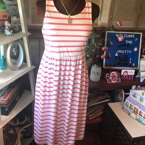 Dresses & Skirts - Pink white stripe Bellamie silky dress w pockets!